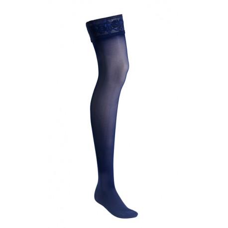 stay-up stödstrumpor nylon spets blå